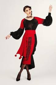 embroidered black and red see thru blouse with gathered ruffles
