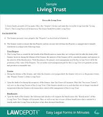 revocable living trust free forms us lawdepot sample will templa
