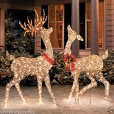 set of 2 outdoor reindeer deer yard decor pre lit