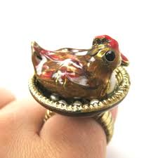 limited edition and handmade 3d chicken hen bird animal ring
