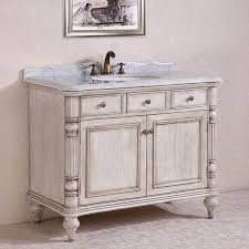 Distressed Bathroom Vanity by Antique Legion 47 Inch White Finish Bathroom Vanity White Marble Top