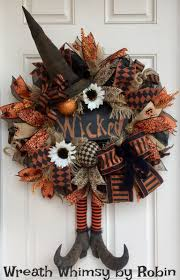 Halloween Wreath Supplies by Halloween Burlap U0026 Mesh Rustic Witch Wreath With Primitive Boots
