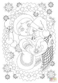 a little hugs her puppy dog while it is snowing coloring page