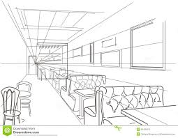 linear interior sketch cafe stock vector image 54430474
