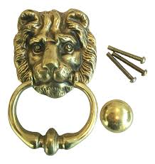 vintage english brass lion door knocker with strike button chairish