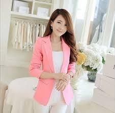 light pink blazer womens 2015 new autumn white black pink light blue woman blazers and