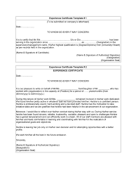 writing a letter to whom it may concern template experience certificate template