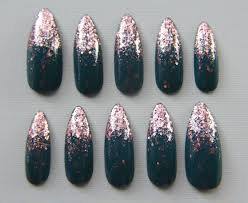 stiletto teal and rose gold nails press on nails fake nails
