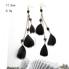 black feather earrings black feather earrings party drop earrings for women