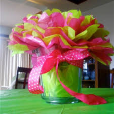 birthday centerpiece all done with tissue paper my