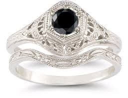 black diamond wedding set antique style black diamond bridal set