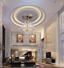 living room multi layer round false ceiling with crystal