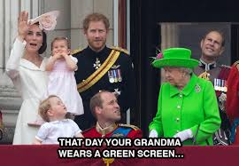 Queen Meme - the queen wore a green screen outfit and the internet went to town