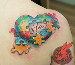 autism puzzle piece heart 3d tattoo jackie rabbit by