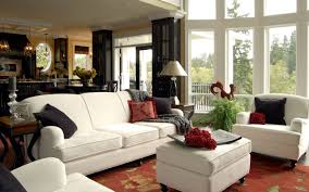 awesome beautiful country living room with brown and red accents