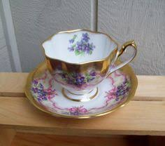 vintage queen anne bone china floral teacup and saucer england