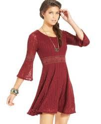 maroon sweater dress rag crochet knit panel sweater dress dresses juniors