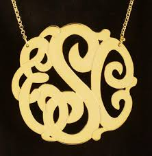 Gold Monogram Necklace Extra Large Gold Monogram Necklace Be Monogrammed