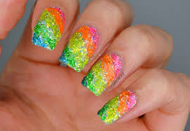 nails rainbow glitter highlighter nails cosmetic proof