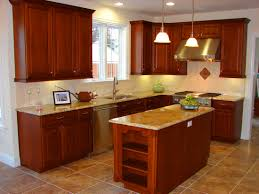 dark wooden cabinets for l shaped kitchen layout also small
