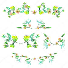 set with frame borders floral decorative ornaments with