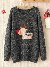 buy fashion sleeves deer print woolen sweater