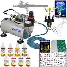 master pro temporary tattoo airbrush kit 8 color body art paint