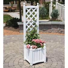 4 5 foot square solid wood lexington planter with trellis hayneedle