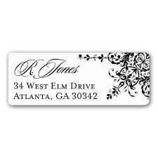 garland black and white return address labels paperstyle