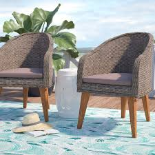 Patio Dining Chairs With Cushions Beachcrest Home Elsmere Patio Dining Chair With Cushion Reviews