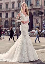 long sleeves lace mermaid wedding dresses 2017 v neck sheer