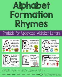 alphabet formation rhymes rhyming words uppercase alphabet and
