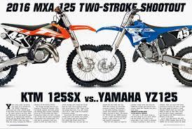 motocross action mag two stroke shootout ktm 125sx vs yamaha yz125 aesenal mx