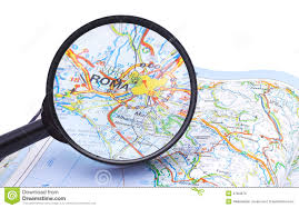 Map Rome Italy by Magnifying Glass Over Rome Italy Map Royalty Free Stock Photo
