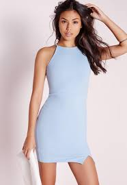 blue bodycon dress square neck side split bodycon dress blue missguided
