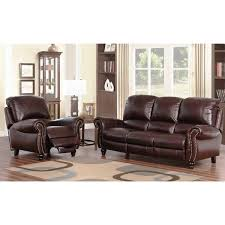 Leather Sofa And Armchair Abbyson Madison Top Grain Leather Pushback Reclining 2 Piece