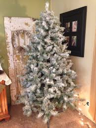 flocked christmas tree couple of cans of white spray paint 1