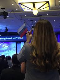 tiny russian flags handed out to wave during trump u0027s cpac speech