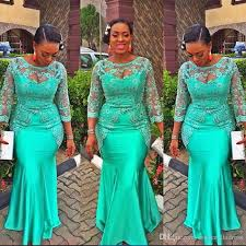 turquoise african mermaid evening dress 2017 vintage lace nigeria