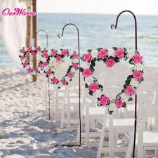 Wedding Wall Decor Heart Shaped Rose Wreath Hanging Wreaths Flowers Garland With Silk