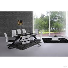 Contemporary Italian Dining Table Arctic Black Glass And White High Gloss Extending Dining Table