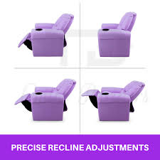 Youth Recliner Chairs New Purple Kids Padded Pu Leather Recliner Chair With Drink Holder