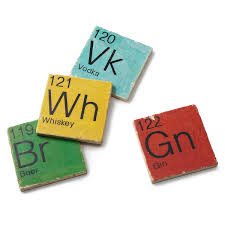 Periodic Table Of Mixology Mixology Coasters Set Of 4 Periodic Table Beer Whiskey Gin
