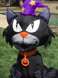 inflatable halloween cat gemmy halloween airblown inflatable black cat with witch hat ebay