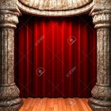Velvet Curtains Red Velvet Curtains Behind The Stone Columns Stock Photo Picture