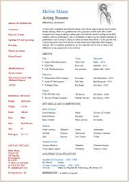 Musical Theater Resume Template Free Acting Resume Template Resume Template And Professional Resume