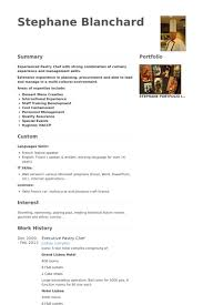 Cook Resume Sample by Pastry Chef Resume 19799