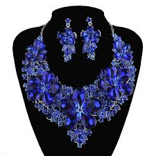 earrings with statement necklace images New arrival royal blue color statement necklace sets for bridal jpg