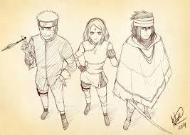 fanart sketch naruto shippuden sasuke uchiha sakura haruno team 7
