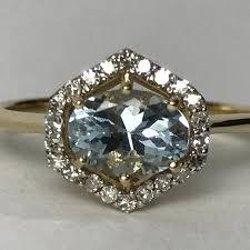 unique engagement ring settings vintage aquamarine diamond ring 14k gold modernist setting